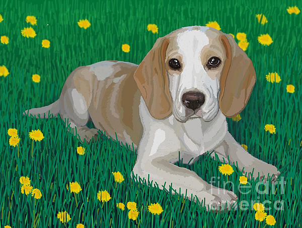 Beagle Bliss Print by Jacqueline Barden