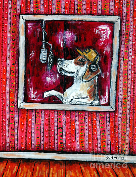 Beagle In The Vocal Booth Print by Jay  Schmetz