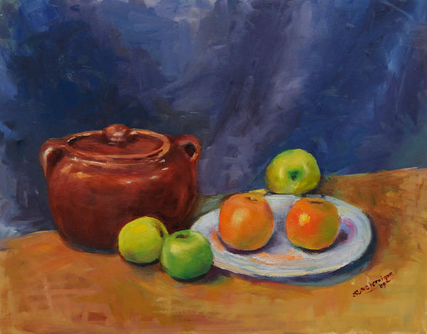 Bean Pot And Fruit Print by Susie Jernigan