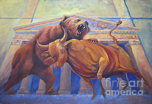 Bear Vs Bull Print by Rob Corsetti