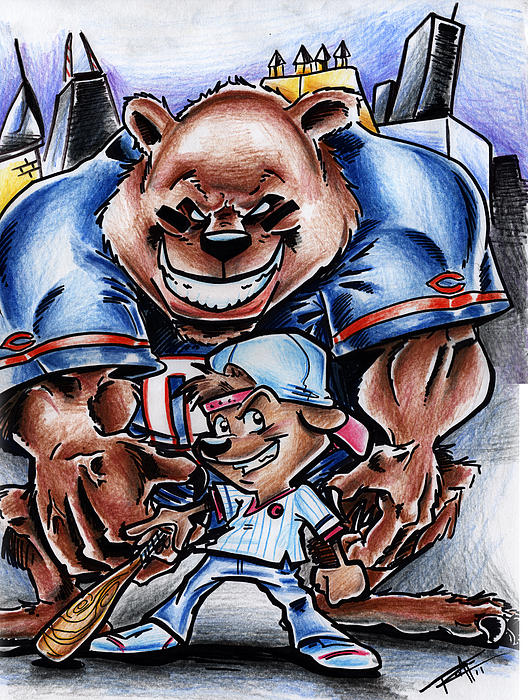 Bears And Cubs Print by Big Mike Roate