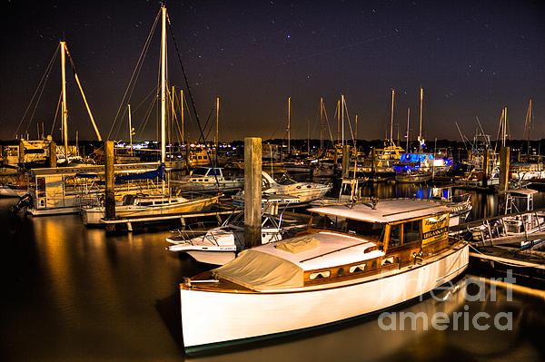 Beaufort Sc Night Harbor Print by Reid Callaway