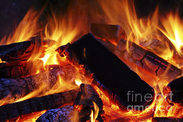 Beautiful Camp Fire Print by Boon Mee