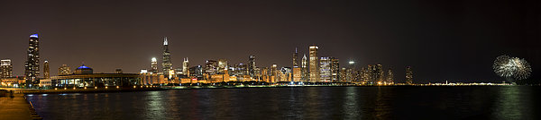 Beautiful Chicago Skyline With Fireworks Print by Adam Romanowicz