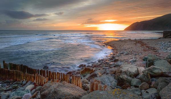 Beautiful Vibrant Sunrise Over Low Tide Beach Landscape Print by Matthew Gibson