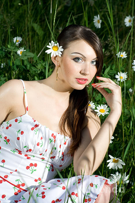 Beautiful Woman In Daisies Print by Diana Jo Marmont