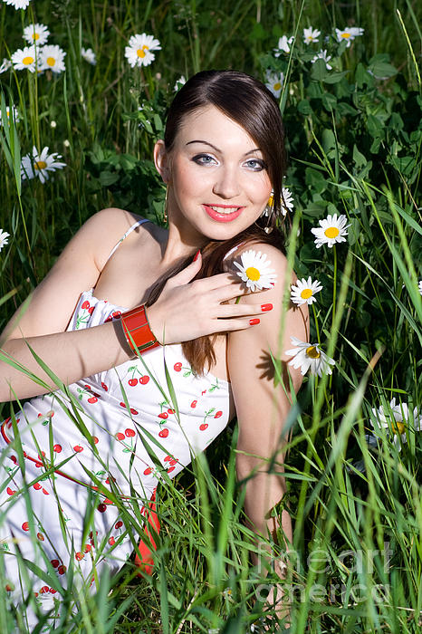 Beautiful Woman Sitting In Tall Grass And Daisies Print by Diana Jo Marmont