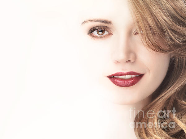 Beautiful Young Woman Face Blending Into Light Background Print by Oleksiy Maksymenko
