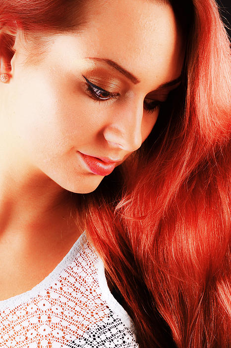 Beauty In Red Hair Print by T Monticello