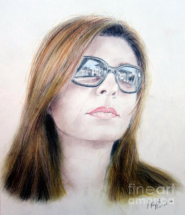 Beauty Wearing Sunglasss  Print by Jim Fitzpatrick