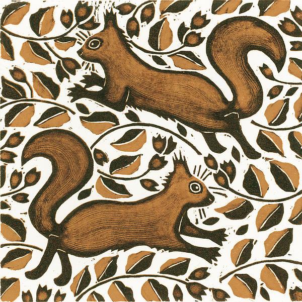 Beechnut Squirrels Print by Nat Morley