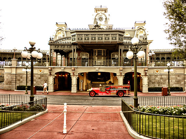 Before The Gates Open The Magic Kingdom Train Station Print by Thomas Woolworth
