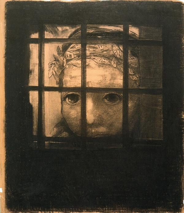 Behind Bars Print by Odilon Redon