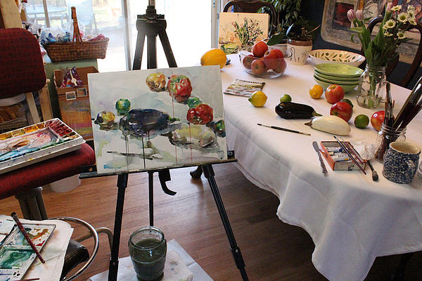 Behind The Scene - Eggplants And Fruits Print by Becky Kim