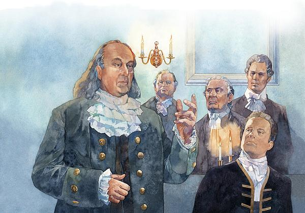 Benjamin Franklin At Albany Congress Print by Matthew Frey