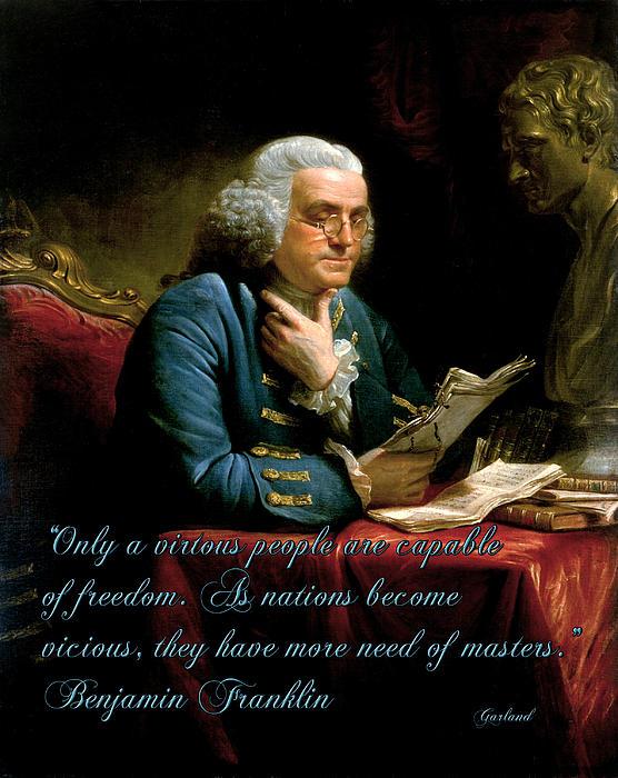 Benjamin Franklin On Freedom Print by Garland Johnson