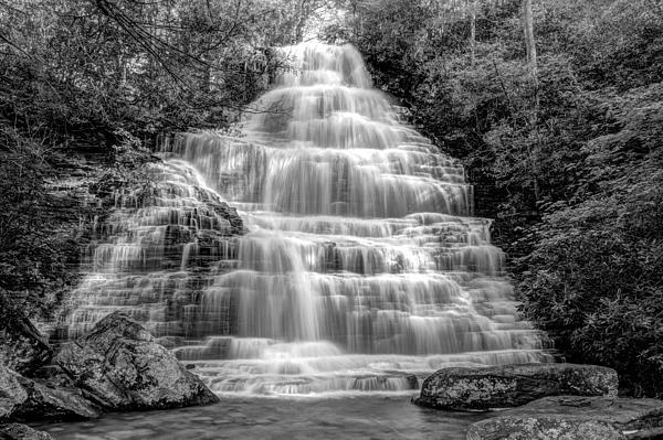 Benton Falls In Black And White Print by Debra and Dave Vanderlaan