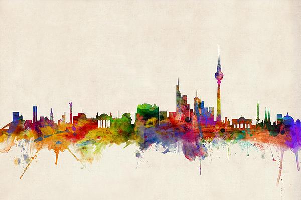 Berlin City Skyline Print by Michael Tompsett