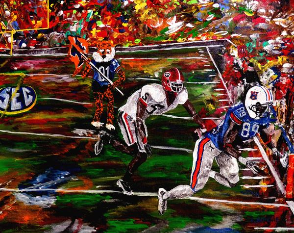 Beware Of The Tiger - Auburn Vs Georgia Football Print by Mark Moore