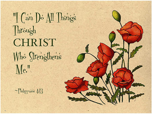 Bible Verse With Poppies Print by Joyce Geleynse