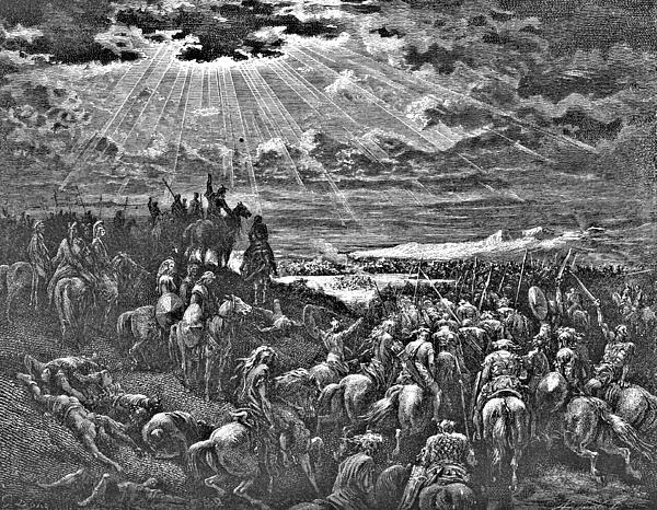 Biblical Battle Scene Engraving Print by