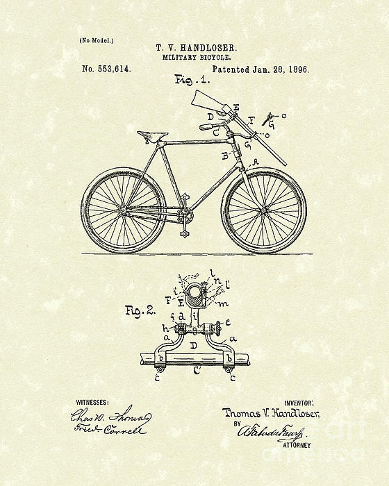 Bicycle 1896 Patent Art Print by Prior Art Design