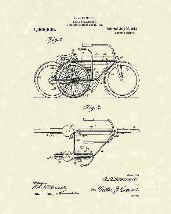Bicycle Attachment 1913 Patent Art Print by Prior Art Design
