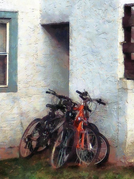 Bicycles In Yard Print by Susan Savad