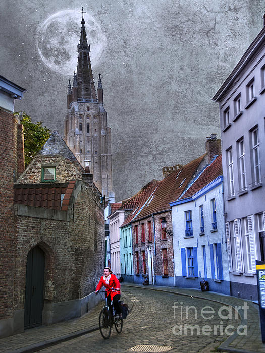 Bicycling Through Bruges Print by Juli Scalzi