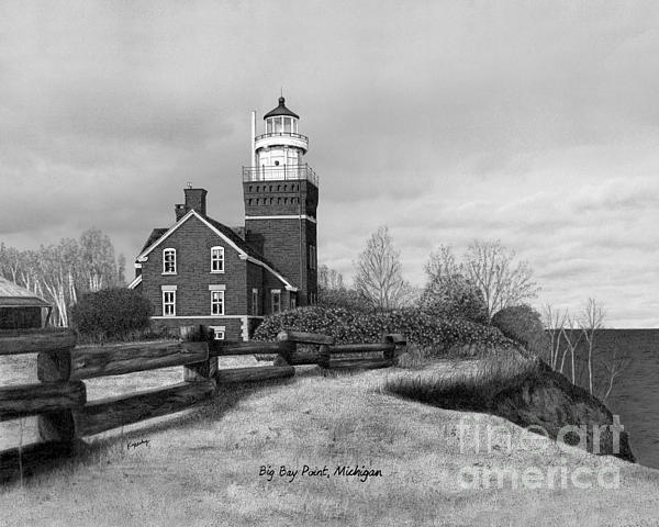 Big Bay Point Lighthouse Titled Print by Darren Kopecky