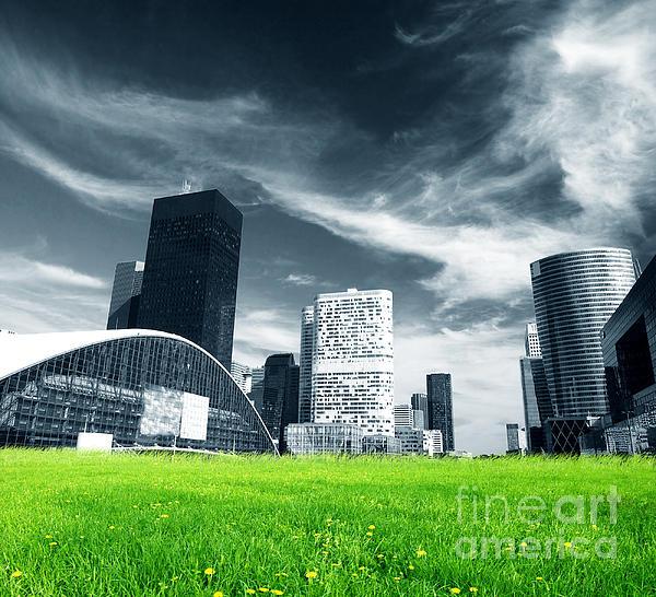 Big City And Green Fresh Meadow Print by Michal Bednarek