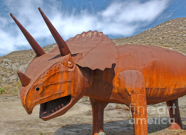 Big Fake Dinosaur - Triceratops Print by Gregory Dyer