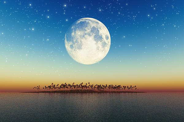 Big Full Moon Behind Island Print by Aleksey Tugolukov
