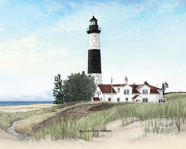 Big Sable Point Lighthouse Titled Print by Darren Kopecky
