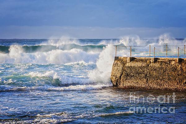 Big  Sea At Bondi Beach Australia Print by Colin and Linda McKie