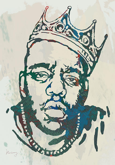 Biggie Smalls Modern Etching Art Poster Print by Kim Wang