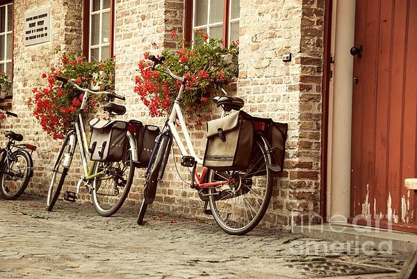 Bikes In The School Yard Print by Juli Scalzi