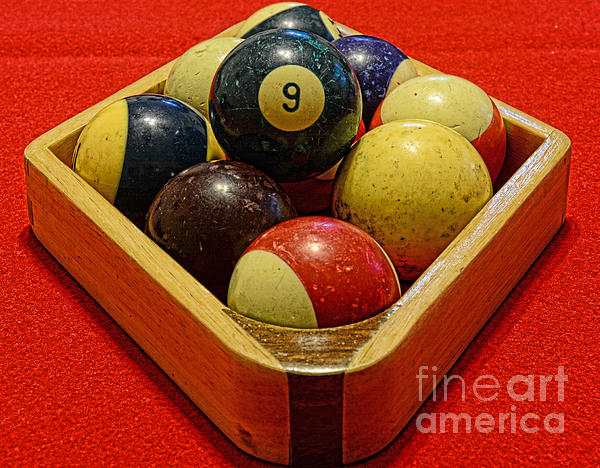Billiards - 9 Ball - Pool Table - Nine Ball Print by Paul Ward
