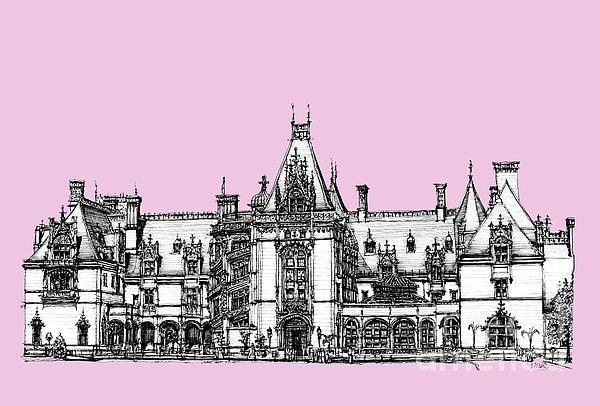 Biltmore Estate In Pink Print by Lee-Ann Adendorff