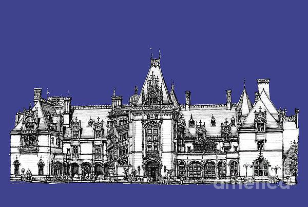 Biltmore Estate In Royal Blue Print by Lee-Ann Adendorff