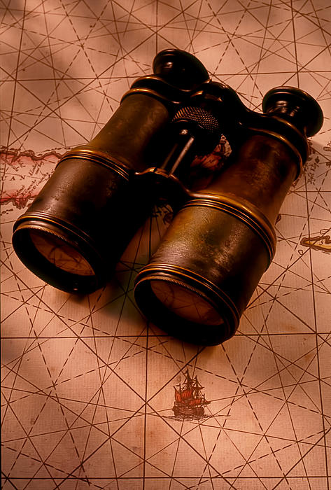 Binoculars On Old Map Print by Garry Gay
