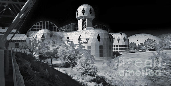 Biosphere2 - Black And White Print by Gregory Dyer