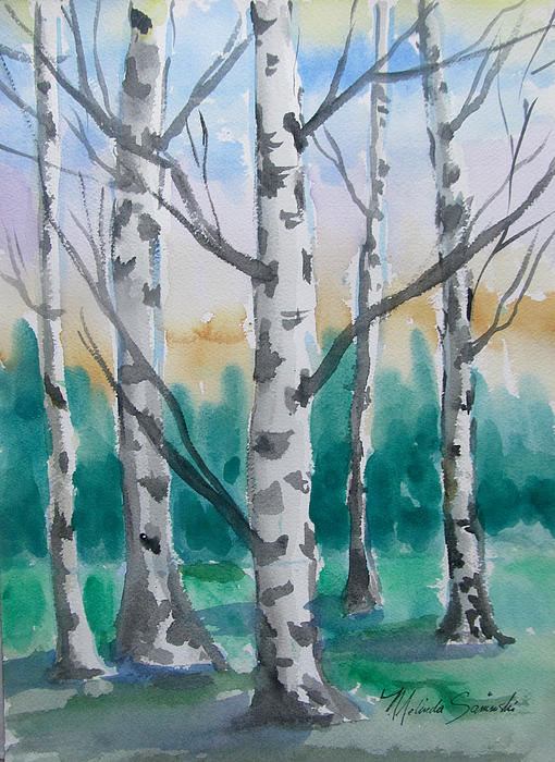 Birch Trees Print by Melinda Saminski