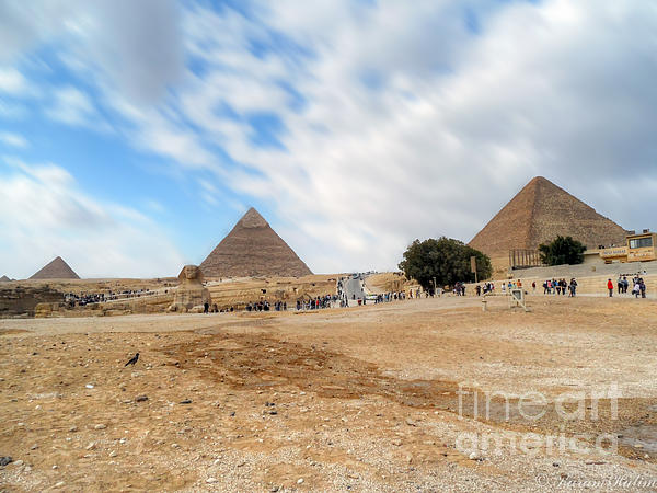Bird Sphinx And Pyramids Print by Karam Halim