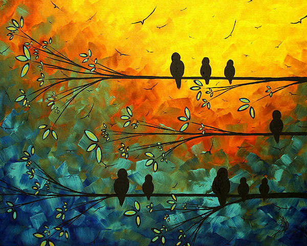 Birds Of A Feather Original Whimsical Painting Print by Megan Duncanson