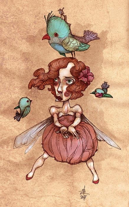 Birds On Head Woman Print by Autogiro Illustration