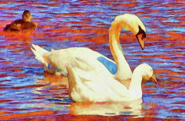 Birds On The Lake Print by Jeff Kolker