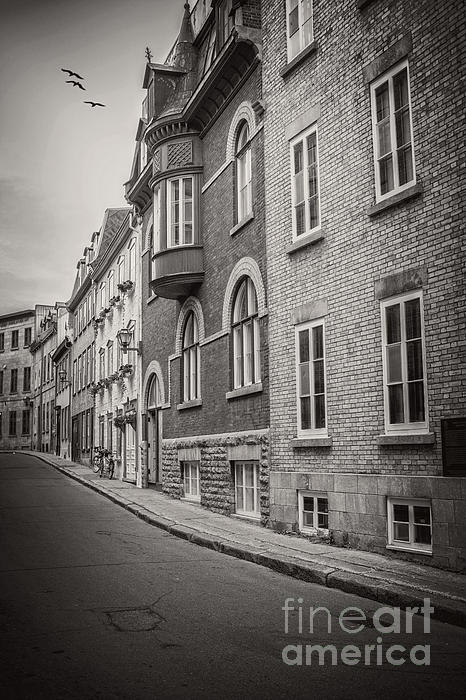 Black And White Old Style Photo Of Old Quebec City Print by Edward Fielding