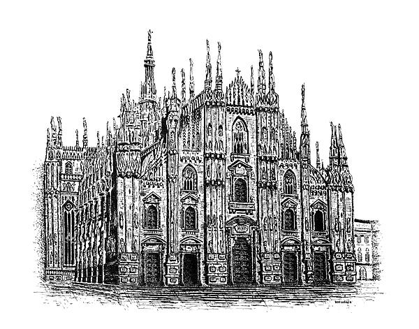 Black And White With Pen And Ink Drawing Of Milan Cathedral  Print by Mario  Perez