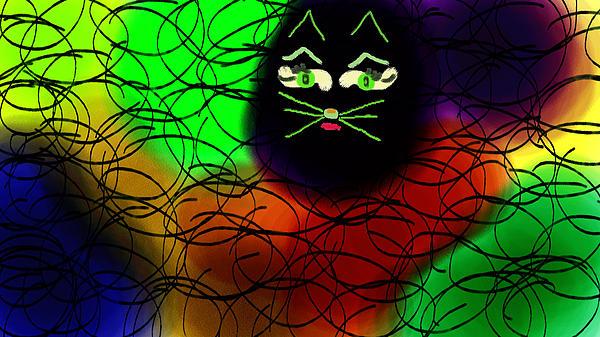 Black Cat Dreams Print by Rosana Ortiz